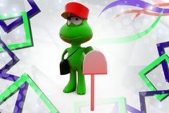 иллюстрация почтальона лягушки 3d Стоковые Изображения