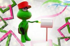 иллюстрация почтальона лягушки 3d Стоковое Изображение