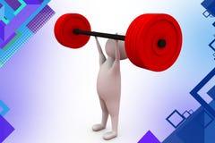 иллюстрация подъема веса человека 3d Стоковое Фото