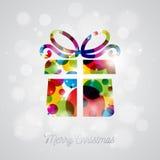Иллюстрация праздника вектора с Рождеством Христовым с абстрактным дизайном подарочной коробки на сияющей предпосылке Стоковая Фотография