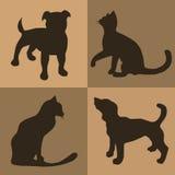 иллюстрация Предпосылка Брайна с собаками и кошками Картина Стоковые Изображения