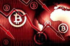Иллюстрация предпосылки валютного кризиса Bitcoin красная Стоковая Фотография RF