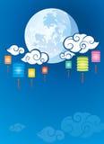 Иллюстрация предпосылки полнолуния и фонариков бесплатная иллюстрация