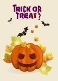 Иллюстрация предпосылки хеллоуина с тыквой Стоковое Изображение RF
