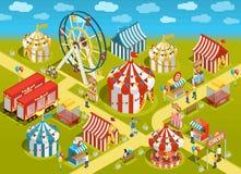 Иллюстрация привлекательностей цирка парка атракционов равновеликая иллюстрация вектора