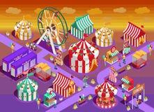 Иллюстрация привлекательностей цирка парка атракционов равновеликая иллюстрация штока