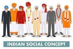 иллюстрация принципиальной схемы 3d представила social Соберите индийские старшие людей стоя совместно в различных традиционных н Стоковое Фото