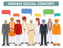 иллюстрация принципиальной схемы 3d представила social Соберите индийские старшие пузыри людей и речи стоя совместно в различном  Стоковые Изображения RF