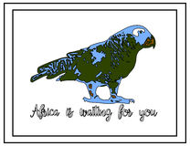 Иллюстрация природы Открытка Животные от джунглей Попугай в зоопарке Африка ждет вас Стоковые Изображения