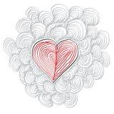 Иллюстрация простого сердца нарисованная вручную, концепция дня валентинки Стоковая Фотография RF
