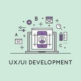 Иллюстрация процесс опыта пользовательского интерфейса и потребителя UX UI Стоковые Фотографии RF