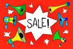 Иллюстрация продажи на красном цвете Пузырь и мегафоны иллюстрация вектора