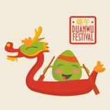 Иллюстрация продвижения фестиваля гонок шлюпки дракона: счастливый характер вареника риса на шлюпке дракона Стоковые Изображения RF