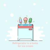 Иллюстрация плана вектора с коробкой замораживателя супермаркета Стоковые Изображения RF