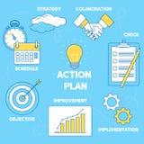 Иллюстрация плана действия Линия стратегия дизайна, сотрудничество, I иллюстрация штока
