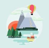 Иллюстрация плоского ландшафта природы дизайна красочная Стоковое Изображение RF