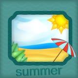 Иллюстрация пляжа в рамке иллюстрация вектора