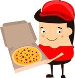 Иллюстрация работника доставляющего покупки на дом пиццы шаржа смешная на белой предпосылке Стоковые Изображения RF