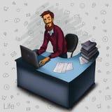 Иллюстрация работника офиса показывая экран таблетки для применений представления Стоковые Фото
