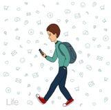 Иллюстрация работника офиса показывая экран таблетки для применений представления Стоковая Фотография
