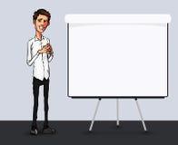 Иллюстрация работника офиса показывая экран таблетки для применений представления Стоковое Изображение