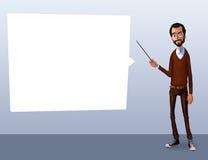 Иллюстрация работника офиса показывая экран таблетки для применений представления иллюстрация вектора
