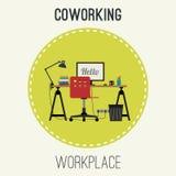 Иллюстрация рабочего места плоская Стоковые Фотографии RF