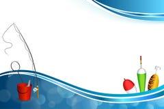 Иллюстрация рамки желтого зеленого цвета ложки поплавка сети рыб ведра рыболовной удочки предпосылки абстрактная голубая белая кр Стоковая Фотография