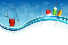 Иллюстрация рамки желтого зеленого цвета ложки поплавка сети рыб ведра рыболовной удочки предпосылки абстрактная голубая белая кр Стоковое Изображение RF