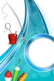 Иллюстрация рамки желтого зеленого цвета ложки поплавка сети рыб ведра рыболовной удочки предпосылки абстрактная голубая белая кр Стоковая Фотография RF