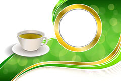Иллюстрация рамки круга золота чашки зеленого чая питья конспекта предпосылки Стоковые Изображения