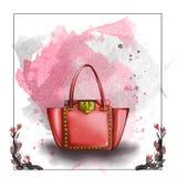 Иллюстрация растра акварели дизайнерской сумки Стоковая Фотография