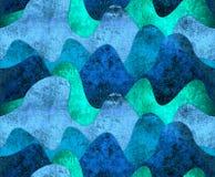 Иллюстрация растра моря волны картины безшовные Стоковые Фотографии RF