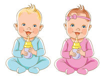 Иллюстрация ребенк держа бутылку молока Стоковые Фотографии RF