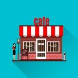 Иллюстрация ресторана или кафа в плоском стиле вектор Стоковые Изображения