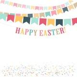 Иллюстрация ретро минимального счастливого дня пасхи милая плоская Предпосылка для поздравительной открытки, объявления, продвиже Стоковые Фотографии RF