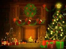 Иллюстрация Рожденственской ночи в ретро стиле Стоковое Изображение RF