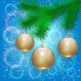 Иллюстрация рождества вектора с ветвью дерева и Стоковая Фотография RF