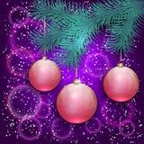 Иллюстрация рождества вектора с голубым деревом Стоковые Фотографии RF