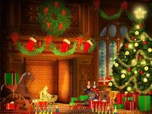 Иллюстрация рождества в винтажном стиле Стоковая Фотография