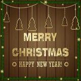 Иллюстрация рождества - праздники приветствуя эмблему и рождество Стоковые Фотографии RF