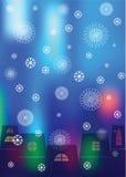 Иллюстрация рождества силуэтов и снега домов шелушится Стоковое фото RF
