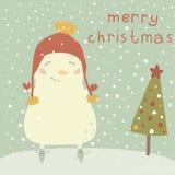 Иллюстрация рождества с милым снеговиком. Мультфильм  Стоковая Фотография RF