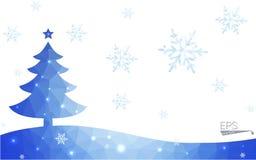 Иллюстрация рождественской елки стиля полигона голубой открытки низкая состоя из треугольников Стоковые Изображения