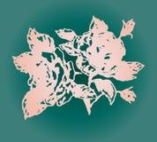 Иллюстрация розового подняла на предпосылку бирюзы Стоковые Изображения