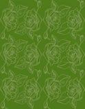 иллюстрация Розы на зеленой предпосылке картина безшовная Стоковые Фотографии RF