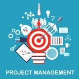 Иллюстрация руководства проектом Цель, идея, план, развитие, осуществление, и успех Руководство бизнесом Стоковое Изображение RF