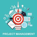 Иллюстрация руководства проектом для организаций науки и образования Цель, идея, план, осуществление, и успех Стоковые Фотографии RF