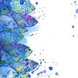 Иллюстрация рыб моря желтый цвет акварели стародедовской предпосылки темный бумажный Стоковая Фотография