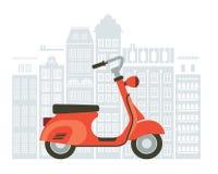 Иллюстрация самоката на улице Стоковые Фотографии RF